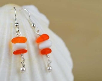 Orange and white sea glass earrings with Swarovski pearls stacked earrings beach glass light earrings dangle earrings beach glass favors