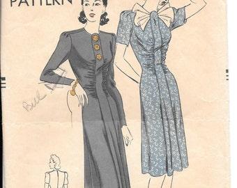 VTG 40s Vogue Pattern 8803 Gathered Bodice Flare Skirt Dress Sz 12 B 30