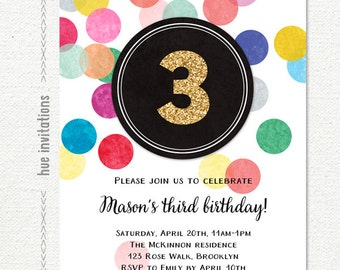 gold glitter 3rd birthday invitation, rainbow confetti 3 birthday party invitation for girl or boy, digital printable birthday invite 166