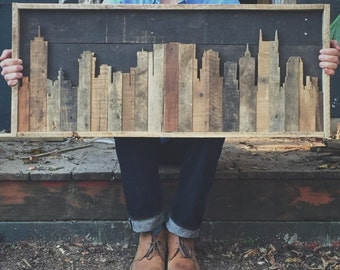 Rustic Nashville Tennessee Skyline Made from Reclaimed Wood