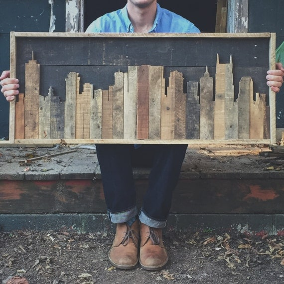 Rustic nashville tennessee skyline made from reclaimed wood Reclaimed wood wall art for sale