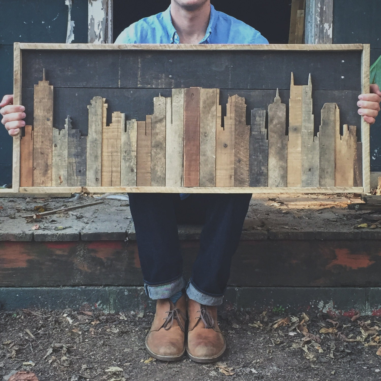 Rustic Nashville Tennessee Skyline Made from Reclaimed Wood - Nashville Sign Etsy