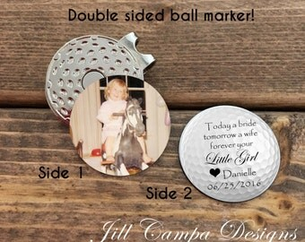"FATHER of the BRIDE - double sided golf ball marker - ""Today a bride"" - father of the bride gift - father of the bride golf - from bride"