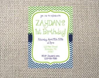 PRINTED or DIGITAL   Chevron Dot Simple   Birthday Party Invitation   Invites   Blue Green   Custom Invitations .82 each