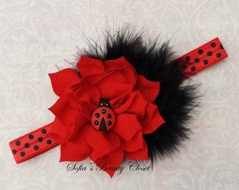 Ladybug headband. Red headband. Baby red headband. Birthday headband. Girls headbands. Kids headband. Lady bug headband. Ladybug birthday