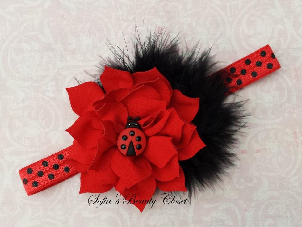 Knitting Ladybug Ladybird Headband : Ladybug headband red baby birthday