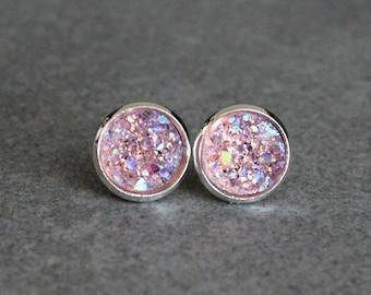Pink Stud Earrings, Pink Druzy Earrings, Pink Earrings, Light Pink Earrings, Pink Post Earrings, Pale Pink Earrings, Pink Bridesmaid Earring