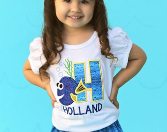 Girl Blue Fish Birthday Shirt with Embroidered Name