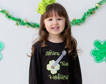 Girl's St Patrick's Day ShamROCK Shirt with Embroidered Name