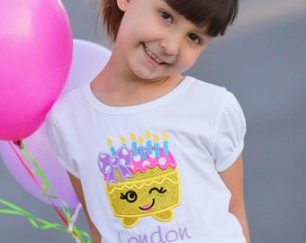Girl's Cutie Birthday Cake Shirt with Embroidered Name