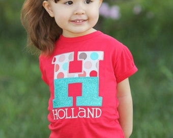 Girl's Personalized Hot Pink Shirt with Glitter Letter and Embroidered Name
