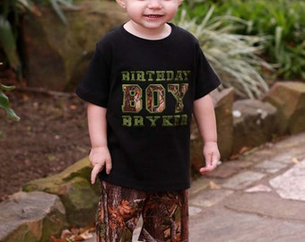 Boy's Camouflage 'Birthday Boy' Shirt with Embroidered Name
