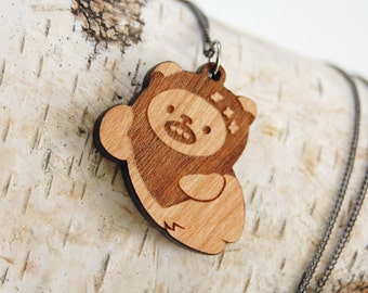 Relaxing Ewok Wicket Wooden Pendant