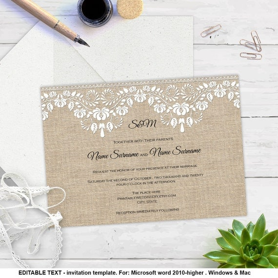 burlap and lace invitation template diy wedding invite. Black Bedroom Furniture Sets. Home Design Ideas