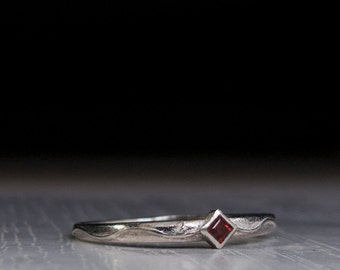 Dainty Sterling Silver Garnet Ring