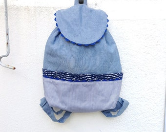 Bag kids! Adventurer child for girl chambray denim - striped - moltonne - soft - very nice quality marine - colored - blue backpack