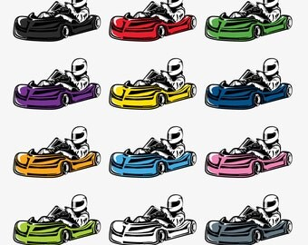 Racing Clipart - Go Kart Clip Art - Go Kart Digital Clip Art - GoKart Clipart