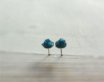 Apatite blue raw gemstones  post  stud earrings