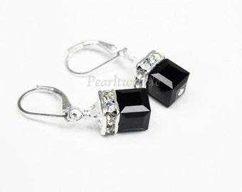 Black Swarovski Crystal Earrings, Jet Black Earrings, Christmas gift for her under 50 30, Black Cube Earrings, Christmas gift under 30 50