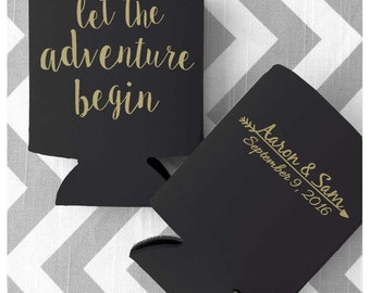 Let the Adventure Begin Custom Wedding Can Coolers - Free Shipping on all Collapsible Can Koolers (58)