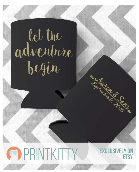 Let The Adventure Begin Custom Wedding Can Coolers Free