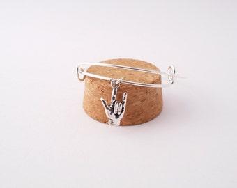I Love You sign language bangle bracelet