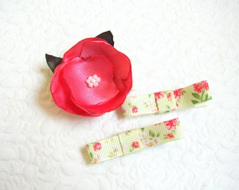 Pink flower baby clips, Baby clips set, Toddler hair clips, Baby hair clips, Flower clips, Covered clips, Spring blossom, Gift for girls