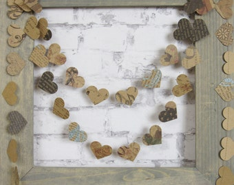Rustic Wedding Garland - Kraft Heart Garland -  Tea Party Decor - Garden Party Garland