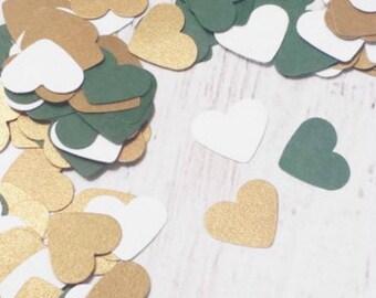 500 Winter Wedding Confetti - Hunter Green and Gold Heart Confetti - Christmas Party Decor