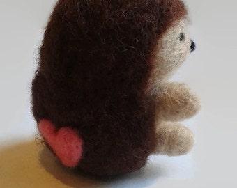 Needle Felted Hedgehog, Needle Felted Animal, Miniature