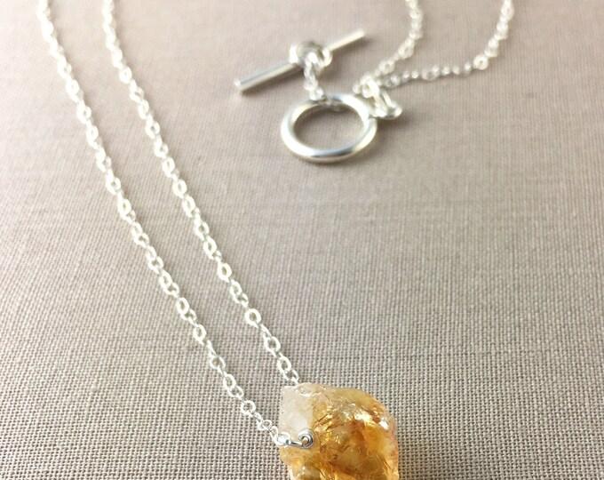 Raw Citrine Necklace // raw gemstone necklace, raw crystal necklace, citrine nugget, jewelry under 35, boho necklace, bohemian jewelry