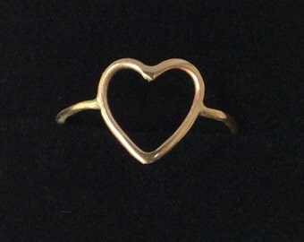 solid gold heart ring - 14K gold ring - open heart design - Marked 14K