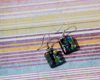 Fused Glass Earrings in Shimmery Gold