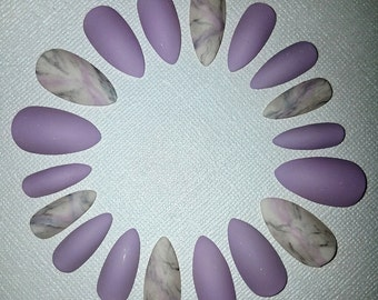 Lilac Marble Stiletto Nails- Matte Nails- Fake Nails- False Nails- Acrylic Nails- Artificial Nails- Press on Nails- Glue on Nails- Faux Nail
