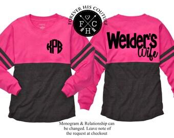Welders Wife Welder wife Welders girlfriend Welder Girlfriend Oilfield Wife pipeline wife OilField girlfriend Monogram pom pom jersey