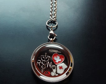 Nurse Floating Locket Necklace Set-9 Pieces-Stainless Steel Locket-Gift Ideas