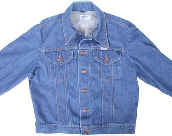 Vintage Men's Denim Jacket / Mens Jeans Jacket / Wrangler Jacket / Wrangler Denim Jeans Jacket / Blue Denim Coat / Men's Large Jacket / Coat
