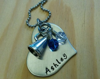 Hand Stamped Personalized Cheer Necklace - Cheerleading gifts - Cheer gift - Cheer Coach gift