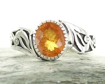 Garnet silver ring. Size 7. Natural stone. Spessartite Garnet. Gemstone ring orange Garnet. Engagment ring.