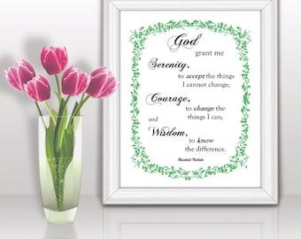 Gift Mom Grandma Sister Christian art print wall decor Printable INSTANT DOWNLOAD Serenity Prayer 8x10 inches