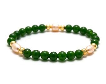 Jade Pearl Bracelet/ Green Jade Bracelet/ Jade Bridal Bracelet/ Elegant Jade Jewelry/ Jade Green Bracelet