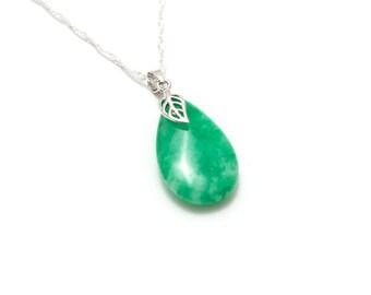 Jade Leaf Pendant/ Green Leaf Pendant/ Carved Jade Pendant/ Jade Leaf Jewelry/ Silver Jade Pendant