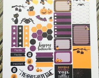 Halloween Cute Witch Weekly Planner Stickers Set, for use with Erin Condren Life Planner, Happy Planner