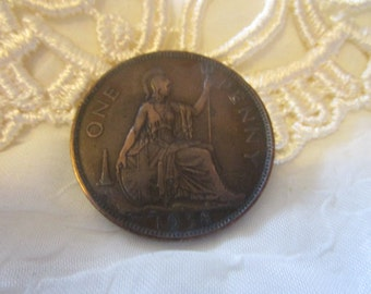 vintage 1938 one penny piece George 6th in fair used condition