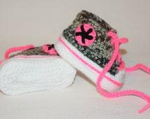 Pink & Camo Crochet Converse Tennis Shoes