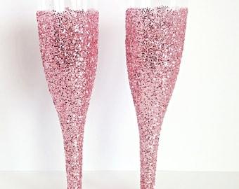 24 Karat Pink Glitter Champagne Flutes- Party Flutes- Bachelorette Party Decor- Wedding Table Setting- Bridal Shower Decorations-Set of 12