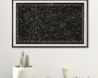 Constellation Wall Print, Galaxy Print, Star Map Print, Constellation Chart Star Map Print, Large Constellation Print, Star Map Print