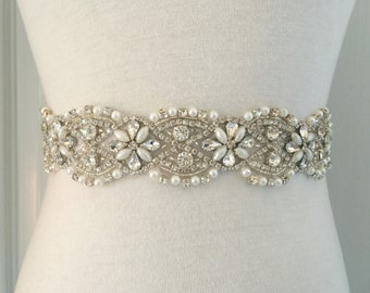 "All Around Sash-All Around Belt-All Around Beadings-All Around Applique-Bridal-Wedding-1.7"" Wide All Around Floral Rhinestones Pearls Sash"