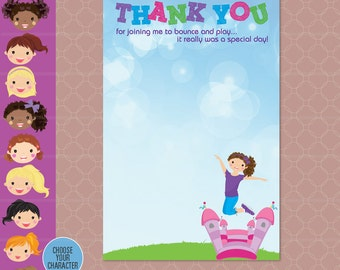 Bounce House Party Thank You Card - Inflatable Birthday - Bouncing Bounce printable - Jump Birthday Party - Girl Birthday Thanks