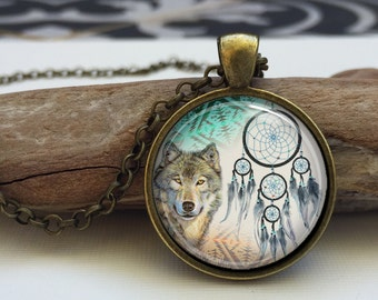 Dream Catcher and Wolf Necklace. Tribal animal pendant jewelry (tribal#8)